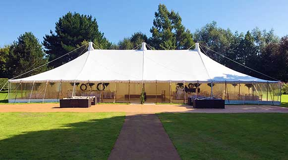 Traditional style tent for a wedding reception just outside Chichester