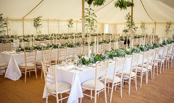 Romantically styled wedding reception
