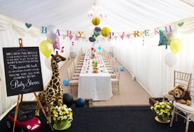 Pretty baby shower marquee