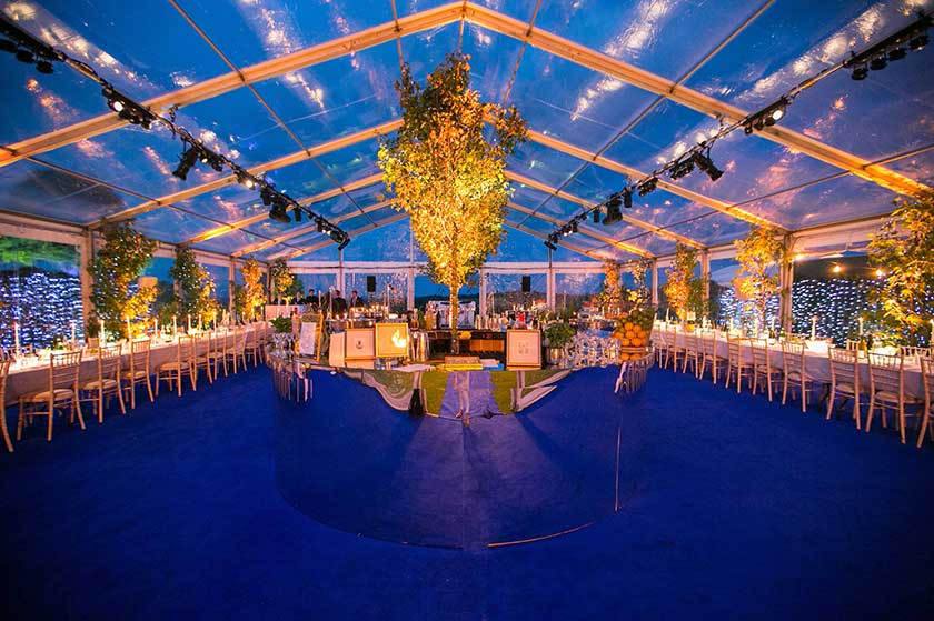 Dramatic illuminated transparent marquee