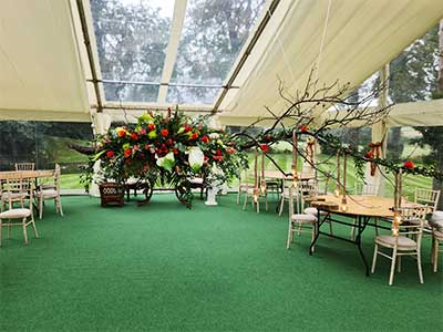 Socially distanced wedding marquee