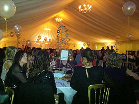 Eating dinner in the Xmas party marquee