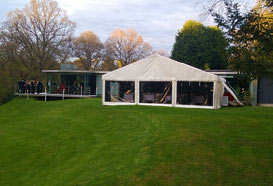 Guests will cross the walkway in front of the house and enter straight into the marquee