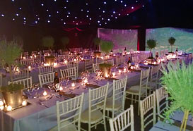 Marquee interior with full festive lighting