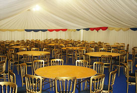 Inside a dining marquee