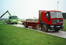 Lorries arrive with equipment