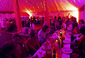 Dining in the marquee