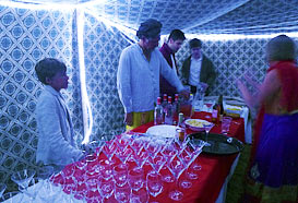 Inside the drinks tent