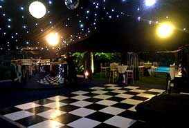 Black and white dance floor in fiftieth party marquee