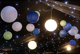 Hanging lanterns in a marquee