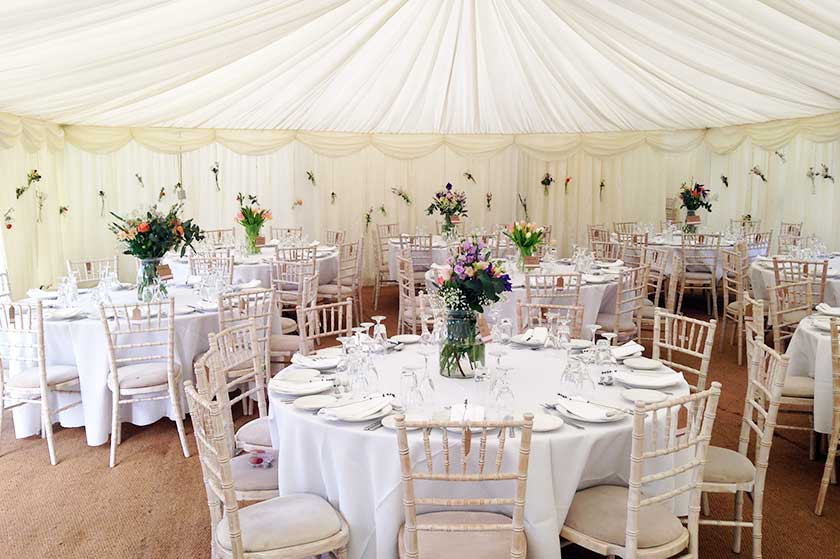 Wedding Marquee With Hanging Flower Decorations Marquee Hire Brighton