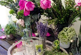 flowers in English Cottage Garden style and Victorian items