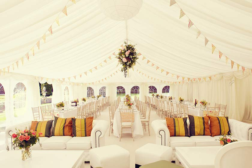 Wedding marquee in shabby chic style with bunting case for Indoor marquee decoration