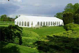 Frame marquee on the croquet lawn