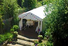 A party tent in the garden