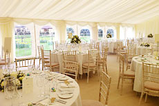 Wedding marquee divided into sections