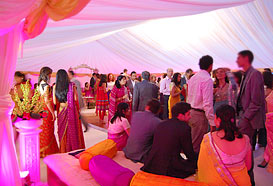 Congregating in a marquee