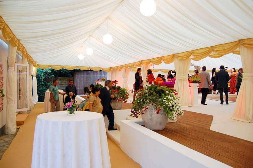 Entrance marquee spanning two levels & Indian Wedding Marquee - Marquee Hire Stanmore