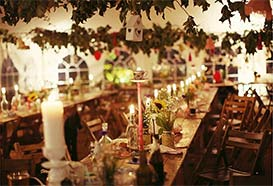 Vintage style wedding reception romantic by candlelight