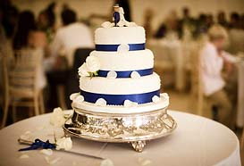 Colour co-ordinated wedding cake