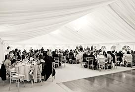 Lunching inside the marquee