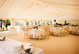 Marquee laid out ready for the reception to start