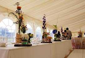 Top table with large and striking table decorations