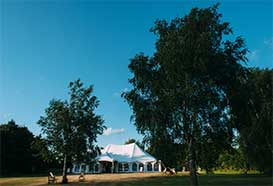 Exterior view of a traditional style marquee