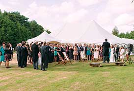 Speeches outside the marquee