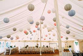 Marquee decorated with lanterns