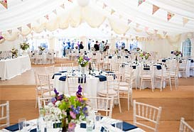 Marquee ready for dining
