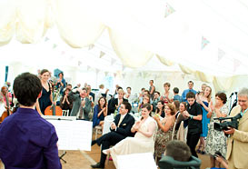 Music recital in a marquee