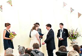 Wedding ceremony in a marquee