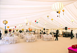 Wedding reception marquee with lanterns