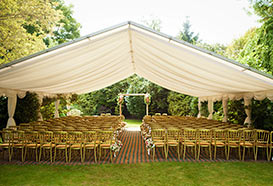 Marquee laid out for a wedding blessing