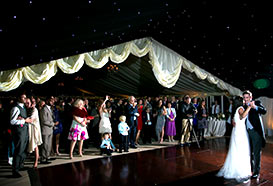 Dance section of the wedding tent