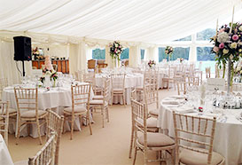 Two sections of the wedding tent