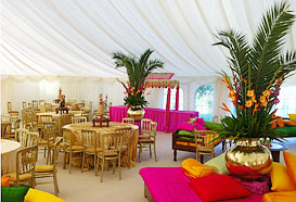 Dining area at the back of the marquee