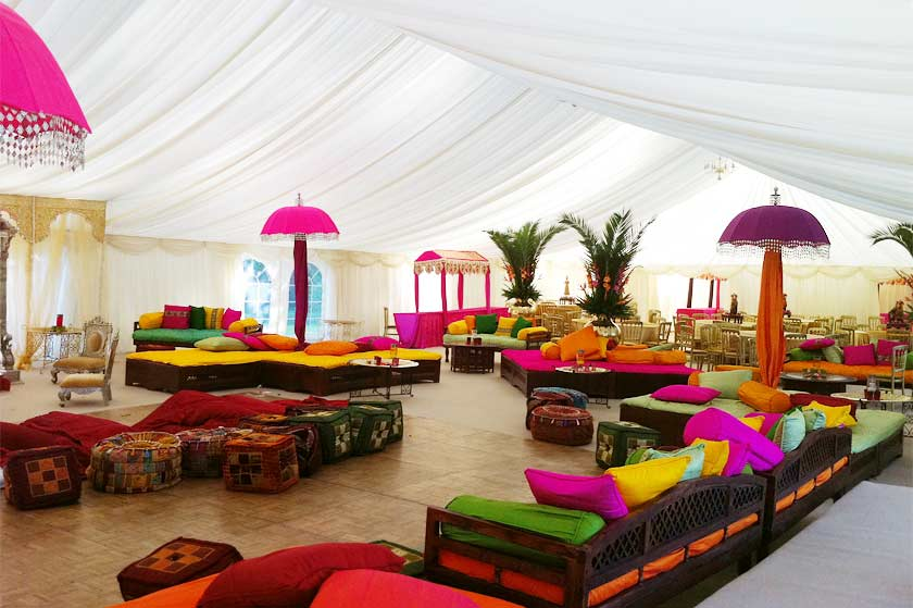 Colourful indian wedding marquee marquee hire enfield indian style marquee in bright colours junglespirit Choice Image
