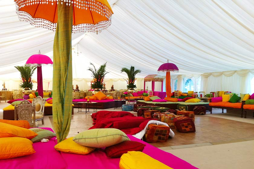 Colourful indian wedding marquee marquee hire enfield indian style marquee junglespirit Images