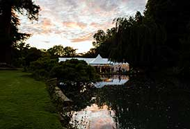 Wedding tent in beautiful setting at night