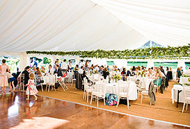 Tent with dining and dancing areas