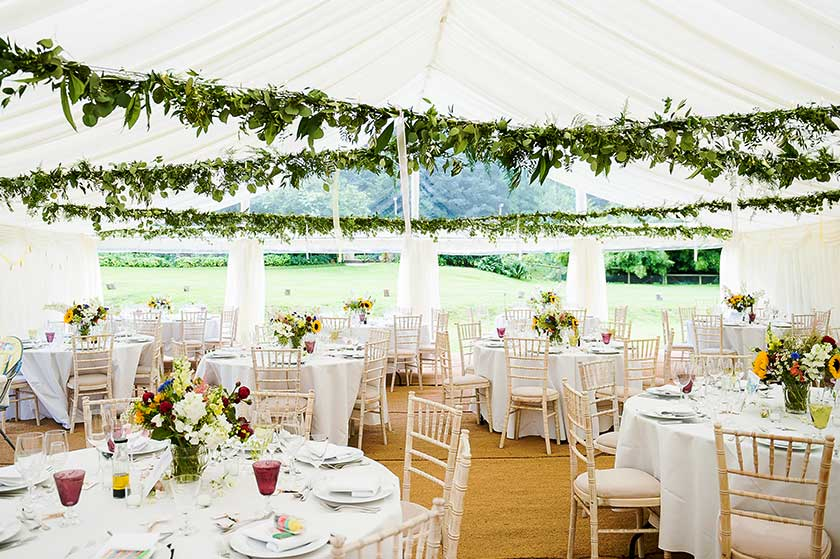 Wedding marquee with leafy ceiling decoration marquee for Indoor marquee decoration