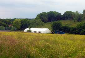 Wedding marquee in a field