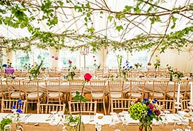 Front view of vintage wedding marquee