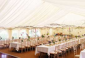 Vintage wedding marquee overview