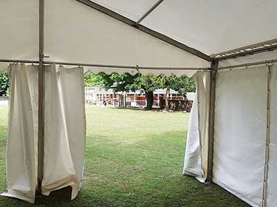 Social distancing marquee across the playground from the main school