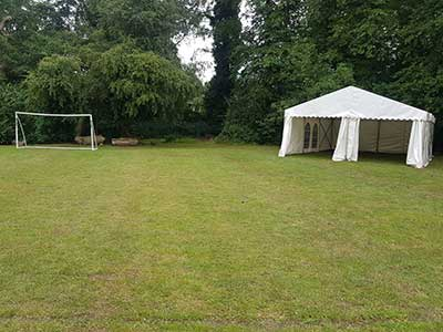 A plain and simple marquee as a temporary classrom