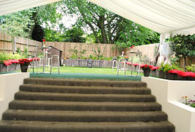 The marquee spanned wide steps