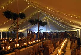 Lighting with fairy light canopy